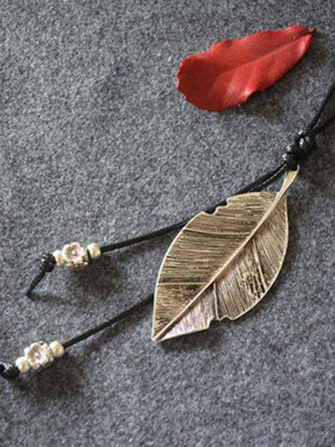 Vintage Leaf Metal Sweater Necklace