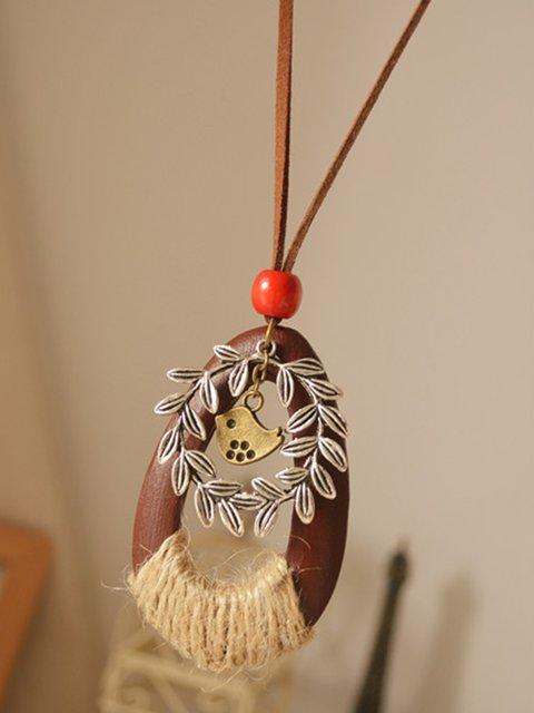 Vintage Wood Animal Metal Necklace