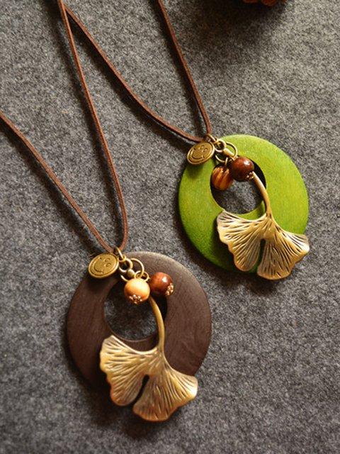 Leaf Metal Round Wood Retro Necklace