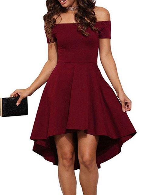 Off Shoulder Women  Party Short Sleeve Elegant  Dress
