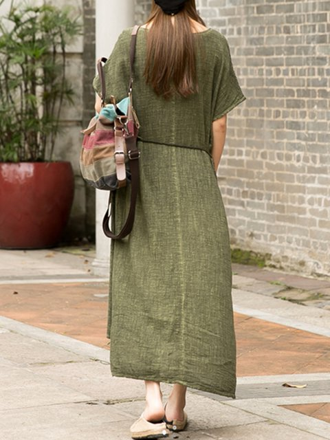 Short Women Daily Solid Casual Dress Cotton Sleeve Pockets 55FrvW4qP