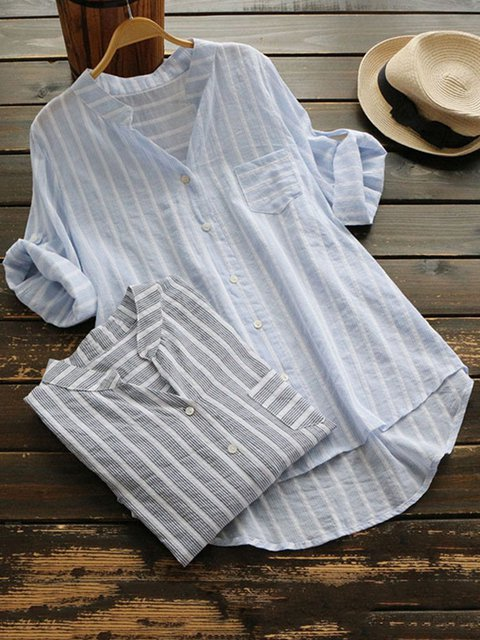 Casual 3/4 Sleeve Stripes Linen Shirts