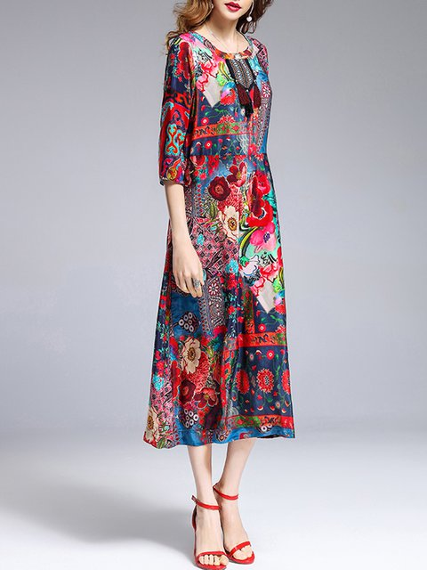 Sleeve Shift Women Printed 3 4 Dress Holiday Casual Multicolor Elegant A7RwSPqS