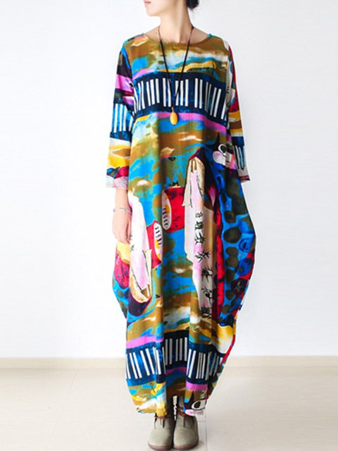 Multicolor Women Casual Dresses Cocoon Daytime Casual Abstract Dresses