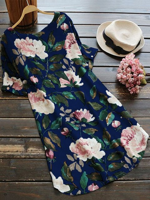 Dress Women Short Shift Sleeve Linen Casual Printed xBawxYqCd