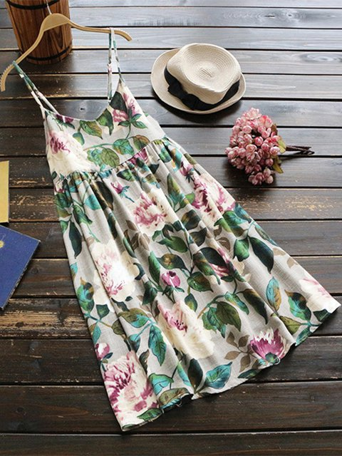 Women Daytime Cotton Spaghetti Gathered Floral Elegant Dress