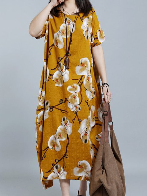 Crew Neck Women Casual Dresses Cocoon Daily Floral Dresses