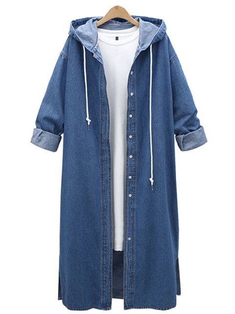 Casual Hoodie Denim Buttoned Shift Solid Coat