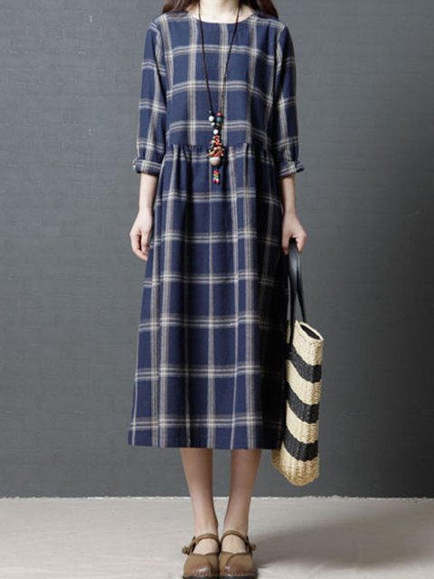 Gathered Casual Women Blue Plaid Sleeve Shift Checkered Dress Daytime Linen Long 4fBaqY