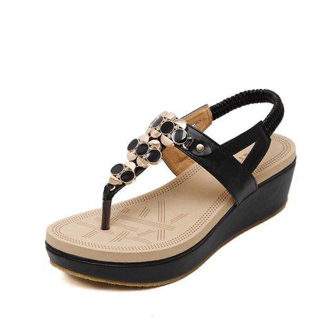 Casual Rhinestone PU Platform Sandals