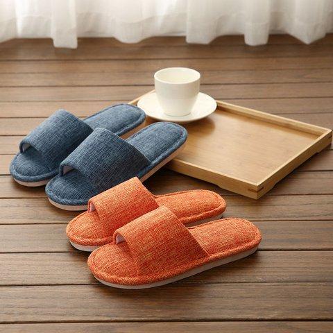Comfortable Linen Slip-On Unisex Flat Heel House Slippers