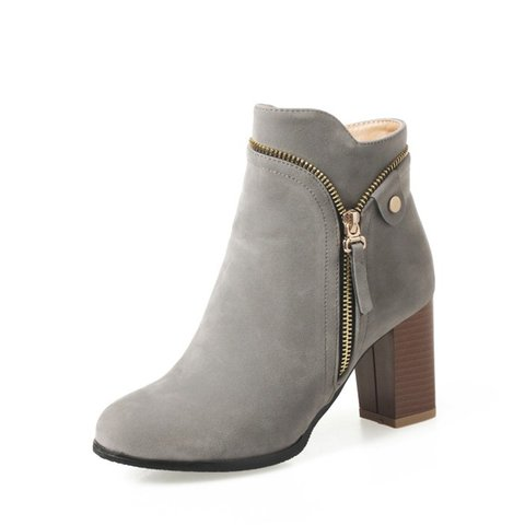 d3b8625df82d9 Large Size Ankle Suede Chunky Heel Daily Women Zipper Boots ...