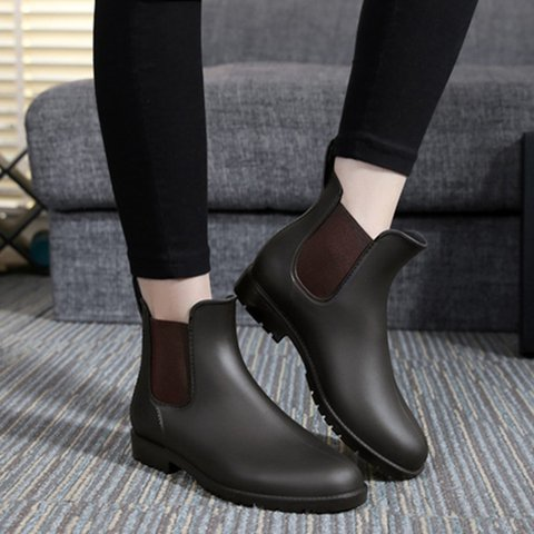 Plus Size Women PVC Casual Slip On Round Toe Boots