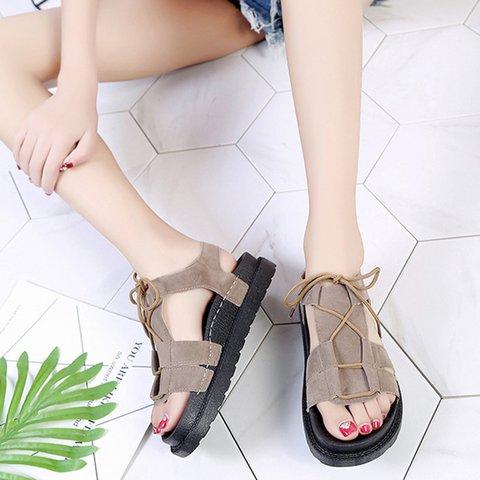 73cc46836f6d Comfy Peep Toe Women Lace Up Casual Sandals - JustFashionNow.com