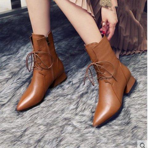 Zipper Women Pointed Toe Low Heel Boots