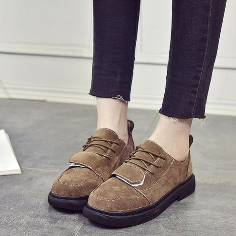 d1fc7e0b45 Flocking Magic Tape Women Lace Up Casual Loafers - JustFashionNow.com