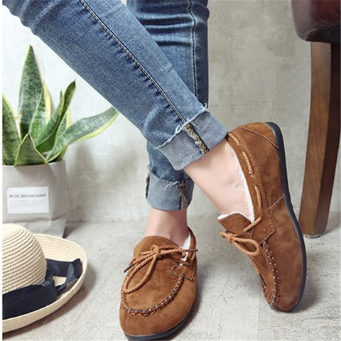 Women Flocking Bowknot Comfy Slip On Loafers