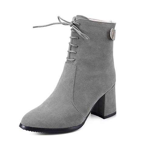 Women PU Lace UP Chunky Heel Ankle Zipper Boots