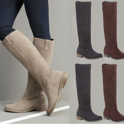 Plus Size Women Suede Knee-High Slip On Boots