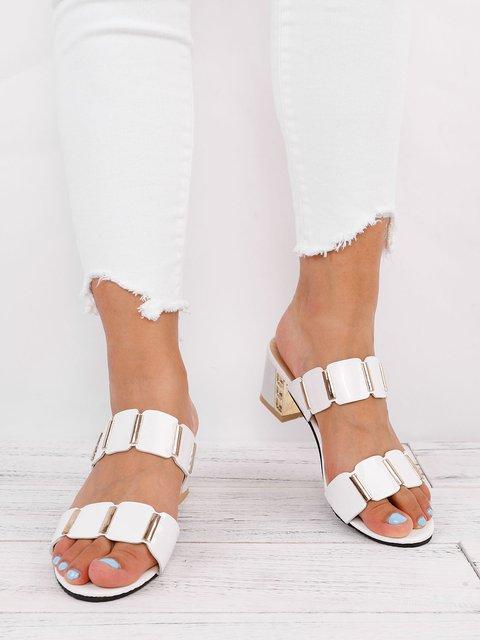 Paillette Women Chunky Heel Pumps Slip On Shoes