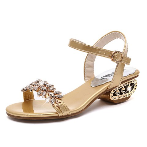 Elegant Rhinestone Sandals Women Buckle Med Heel Shoes