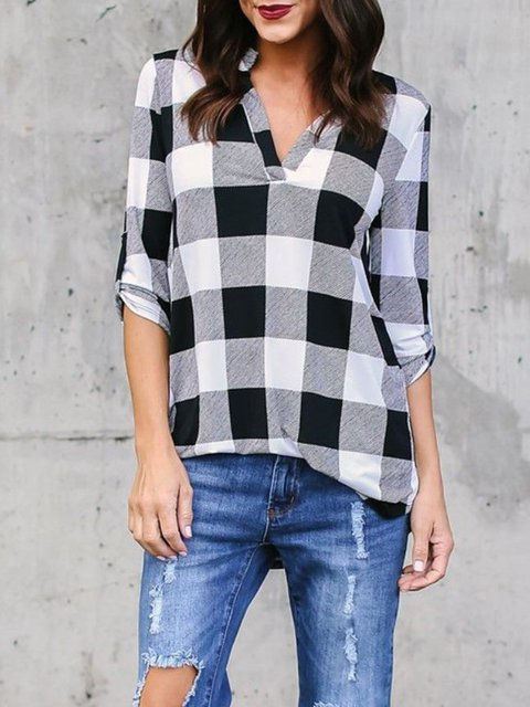V Neck H-line Printed Plaid Casual  Blouse
