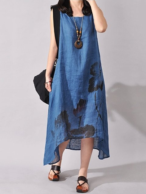 Asymmetrical Women Daily Casual Sleeveless Floral-print  Casual Dress