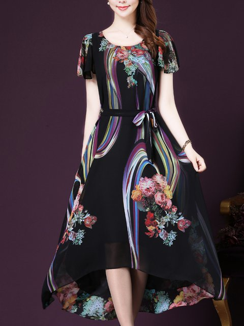 Black A-line Women Going out Short Sleeve Elegant Printed Elegant Dress