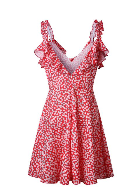 Spaghetti Floral Printed Women neck Dress Red Tie Floral 8Fqtvw