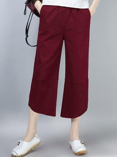 Casual Folds Pockets Cotton Linen Pants