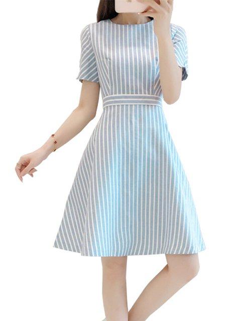 Women Daily Cotton Basic Short Sleeve Paneled Striped Elegant Dress