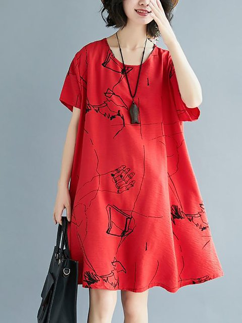 Women Daytime Casual Short Sleeve Pockets Abstract Casual Dress
