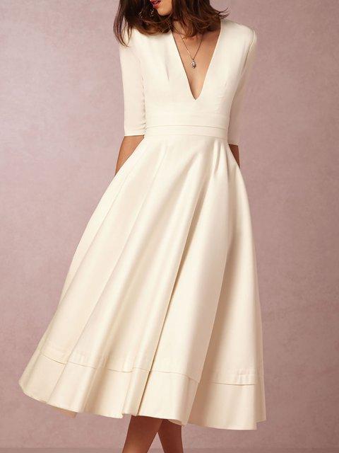 White V Neck Half Sleeve Solid Midi Dress