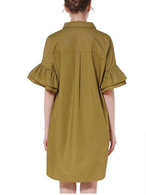 Casual Sleeve Green Summer Buttoned Dress Collar Frill Shirt Women 4taFaq