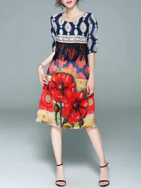 Half Multicolor Sleeve Floral Shift Paneled Daily Women Dress Casual wqq6Pz