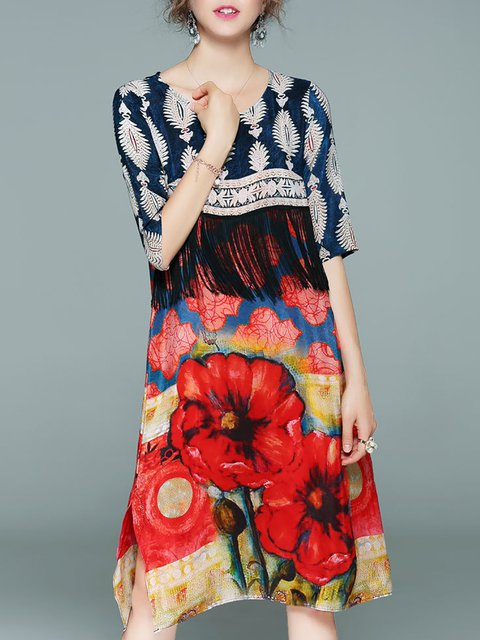 Multicolor Shift Women Daily Half Sleeve Casual Paneled  Floral Dress