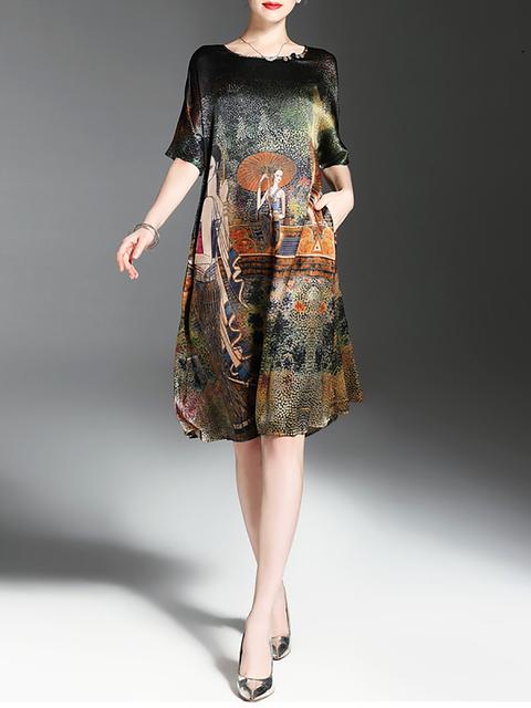 Half Dress Printed Women Sleeve Multicolor Casual Elegant Shift xqv4EEFZ