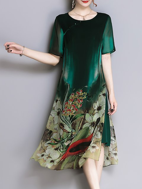Green Shift Women Daily Short Sleeve Vintage Elegant Dress