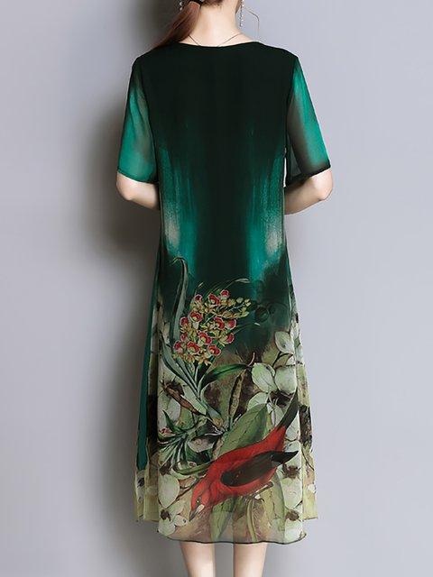 Vintage Sleeve Women Short Shift Elegant Daily Dress Green wzpqgX