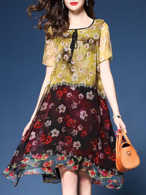 Multicolor Asymmetrical Women Daytime Short Sleeve Vintage Bow Floral Elegant Dress