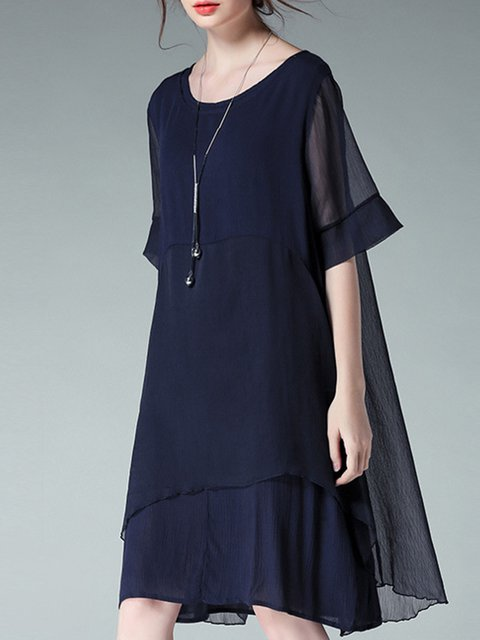 Women Daily Casual Short Sleeve Paneled Solid Elegant Dress