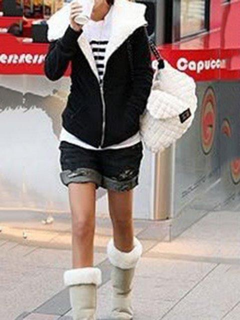 blend Hoodie Coat Cotton Solid Casual Winter UvxHdwpnq