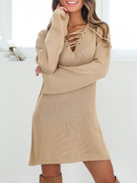 Women Daytime Long Sleeve Wool blend Knitted Solid Spring Dress