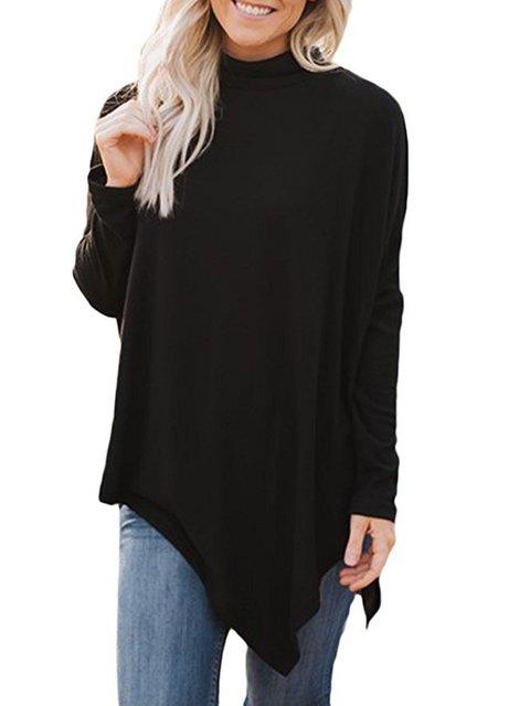 Long Sleeve Asymmetrical Cowl Neck Casual Sweatshirts  Hoody
