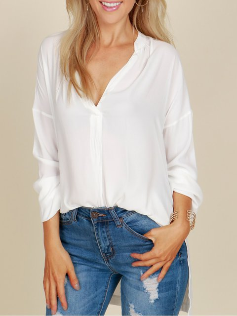 Plunging Neck Solid Long Sleeve Chiffon Blouse