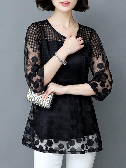 Casual Polka Dots 3/4 Sleeve  Blouse