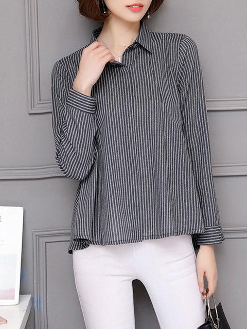 Buttoned Stripes Long Sleeve Shirt Collar  Blouse
