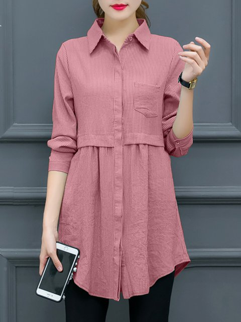 Long Sleeve Casual Pockets Shirt Collar Blouse