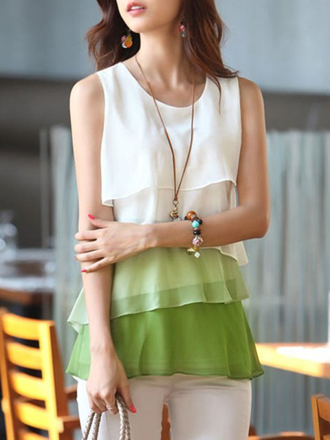 Casual Sleeveless Color-block Chiffon T-Shirt