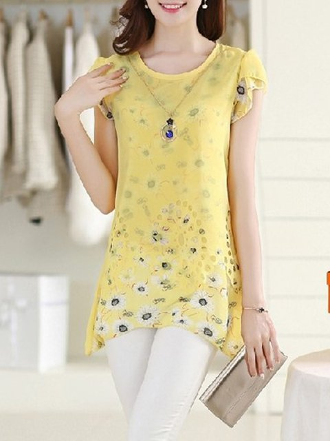 Short Sleeve Plus Size Floral T-Shirt